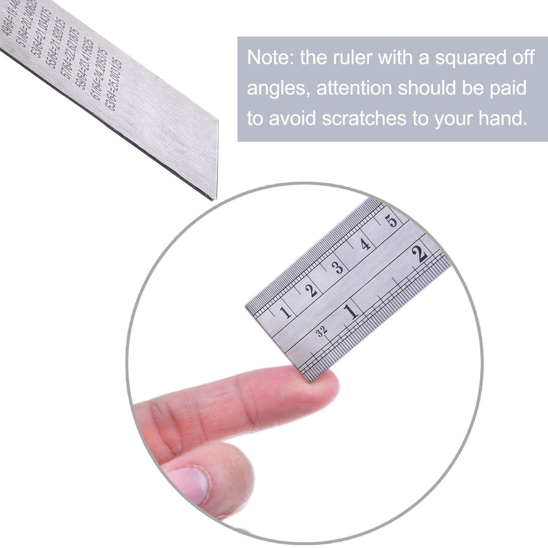 30,4 cm und 15,2 cm Edelstahl-Lineal mit Umrechnungstabelle 38 cm