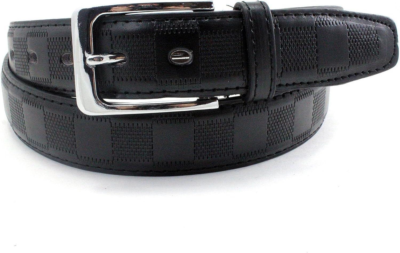 Mens Square Pattern Leather Belt Black Dress Casual Embossed Designer Womens