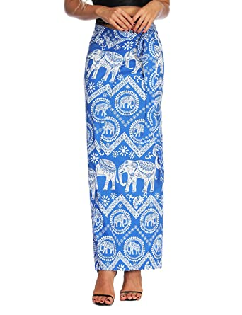 3b95aeade49563 Women Summer Wrap Maxi Skirt Seamless Tie Up High Waist One Piece Skirt  Indie Folk Hippie