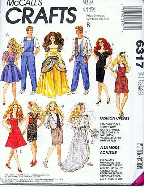 McCall's 6317 Vintage 90s Sewing Pattern Fashion Dolls like