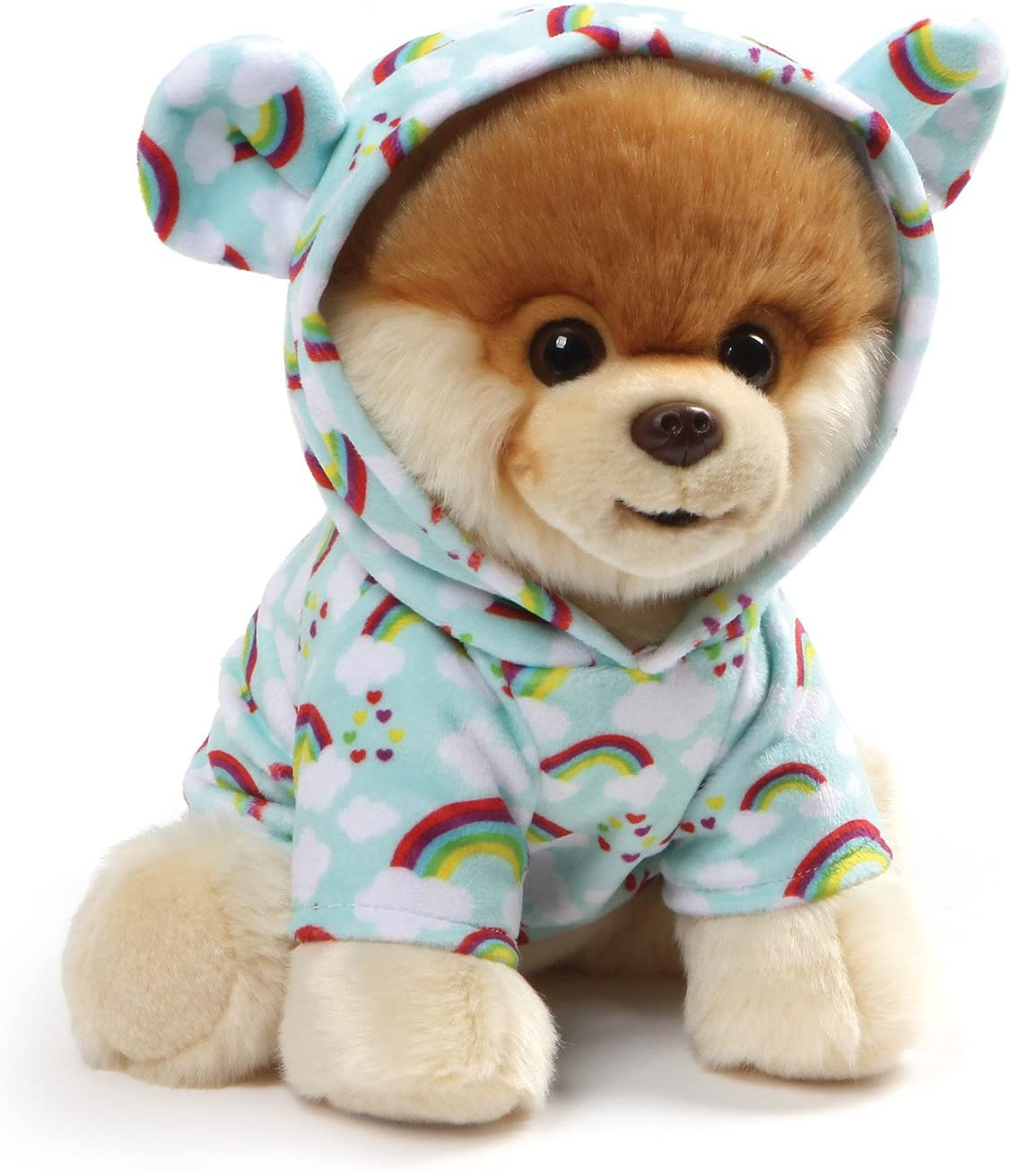 Amazon Com Gund World S Cutest Dog Boo Plush Rainbow Outfit Stuffed Animal Plush 9 Toys Games