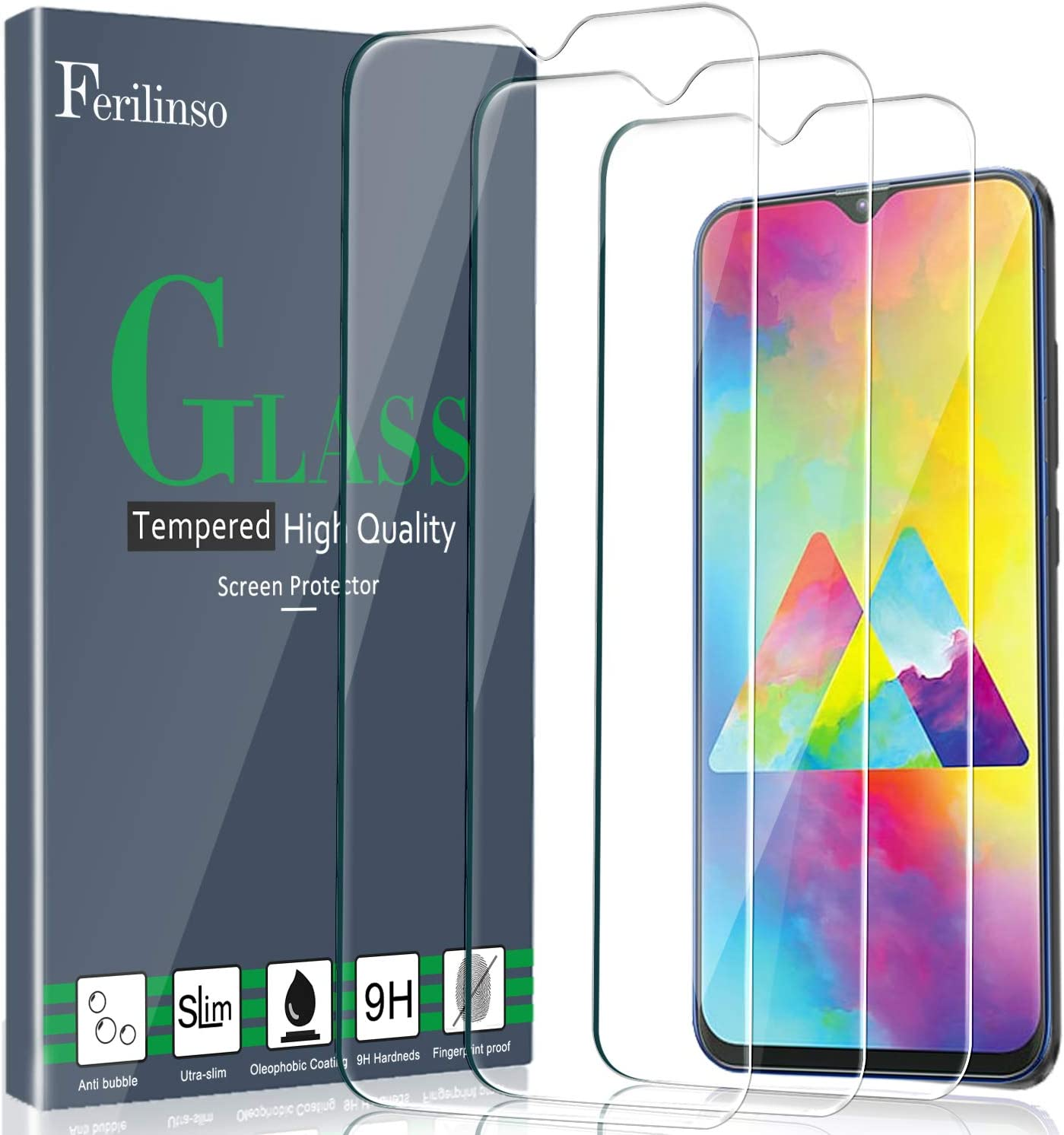 Ferilinso Cristal Templado para Samsung Galaxy M20, A10S, A10 Cristal Templado, [3 Pack] Protector de Pantalla Screen Protector: Amazon.es: Electrónica