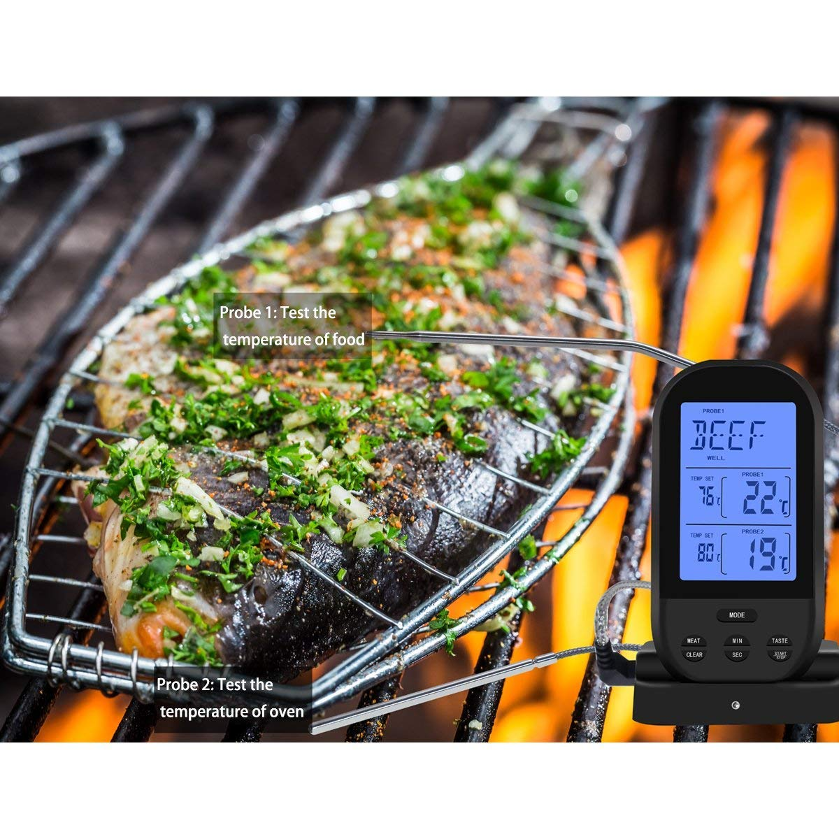 Nine-Rong Wireless Digital Meat Thermometer With Dual Probes