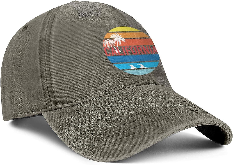 SNEFUEE Mens Womens California Beach Palm Tree Coconut Cap Casual Denim Cowboy Hat Workout Caps