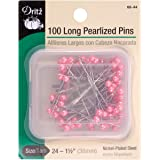 Dritz 68-44 Pearlized Pins, Long, Pink, 1-1/2-Inch (100-Count)