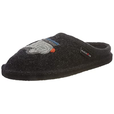 HAFLINGER Unisex Boiled Wool Motif Slippers Flair Vespa, Graphite: Shoes