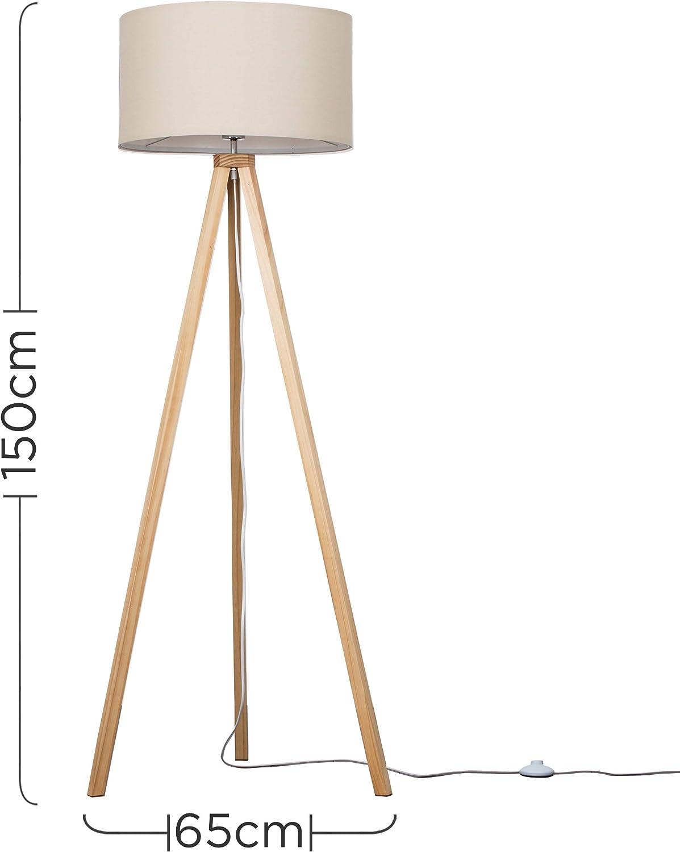 Modern Light Wood Tripod Design Floor Lamp With A Beige Cylinder Shade