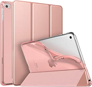 MoKo Case Fit New iPad Mini 5 2019 (5th Generation 7.9 inch) - iPad Mini 2019 Case with Stand, Soft TPU Translucent Frosted Back Cover Slim Smart Shell, Auto Wake/Sleep - Rose Gold