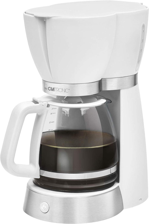 Clatronic Filterkoffiezetapparaat voor 15 kopjes, glazen kan, druppelstop, automatische uitschakeling, 1000 W wit