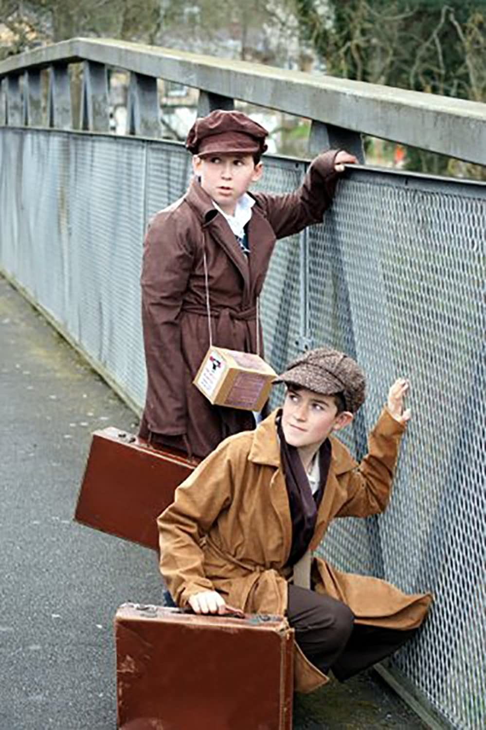 1940s Children's Clothing: Girls, Boys, Baby, Toddler 1940s-WW2-Wartime TAN EVACUEE BOY INCLUDES COAT GAS MASK BOX & CAP World Book Day Fancy Dress $36.99 AT vintagedancer.com