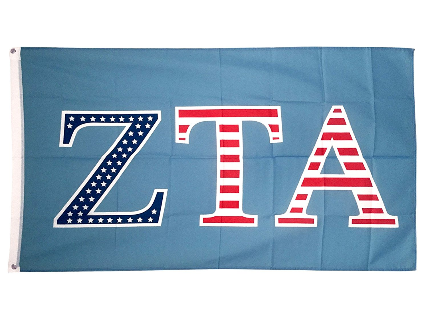 Zeta Tau Alpha ZTA USA Letter Sorority Flag Greek Letter Use as a Banner Large 3 x 5 Feet Sign Decor Zeta by Desert Cactus
