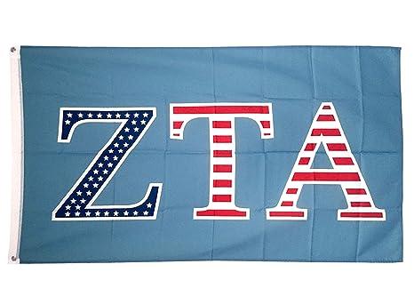 Zeta Tau Alpha ZTA USA Letter Sorority Flag Greek Letter Use as a Banner  Large 3 x 5 Feet Sign Decor Zeta