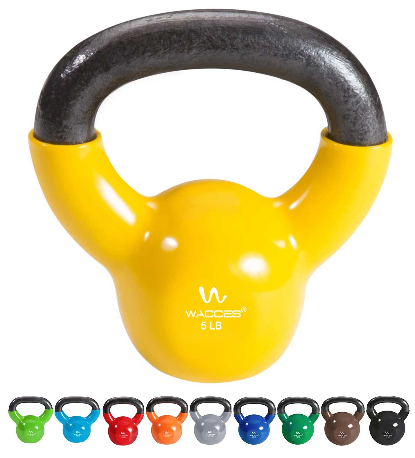 Wacces Single Vinyl Dipped Kettlebell for Croos Training, Home Exercise, Workout 5LB