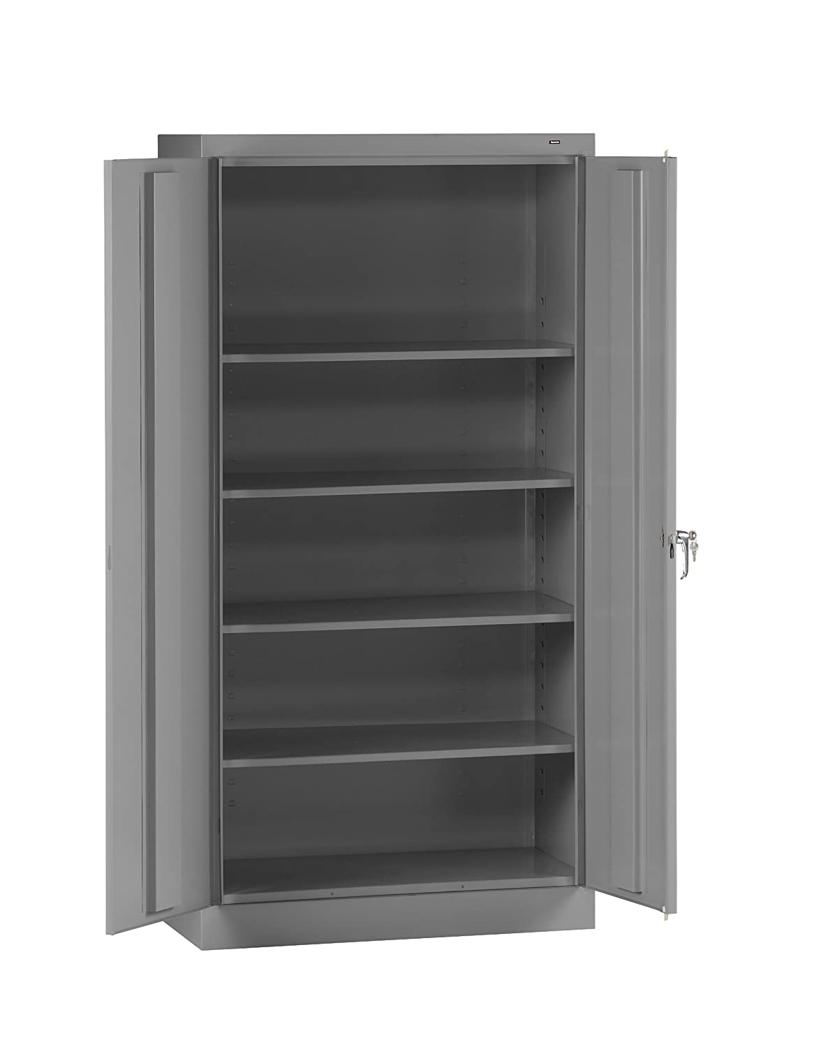 "Tennsco 7218 24 Gauge Steel Standard Welded Storage Cabinet, 4 Shelves, 150 lbs Capacity per Shelf, 36"" Width x 72"" Height x 18"" Depth, Medium Grey"