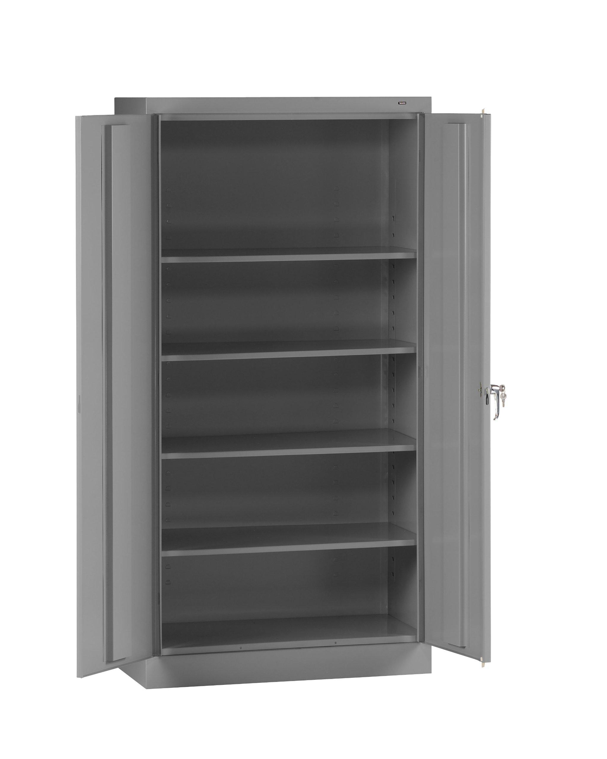 Tennsco 7218 24 Gauge Steel Standard Welded Storage Cabinet, 4 Shelves, 150 lbs Capacity per Shelf, 36'' Width x 72'' Height x 18'' Depth, Medium Grey