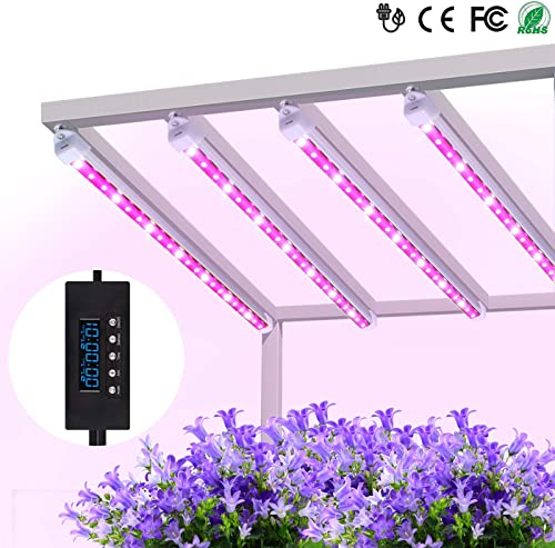 Grow lights 60W LED Plant Light Strips, MIXC 2019 Upgraded Version Growing Lamp with Timer 24 hours Cycling 5 Dimmable Levels Red Yellow Full Spectrum for Plants Succulent Seedling with Gifts 4-Pack