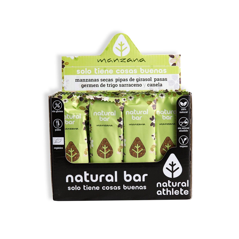 Barritas energéticas Manzana -Natural Athlete- 100% natural y orgánico - RAW - sin gluten - vegano - sin azúcar añadido. Pack 12x40g