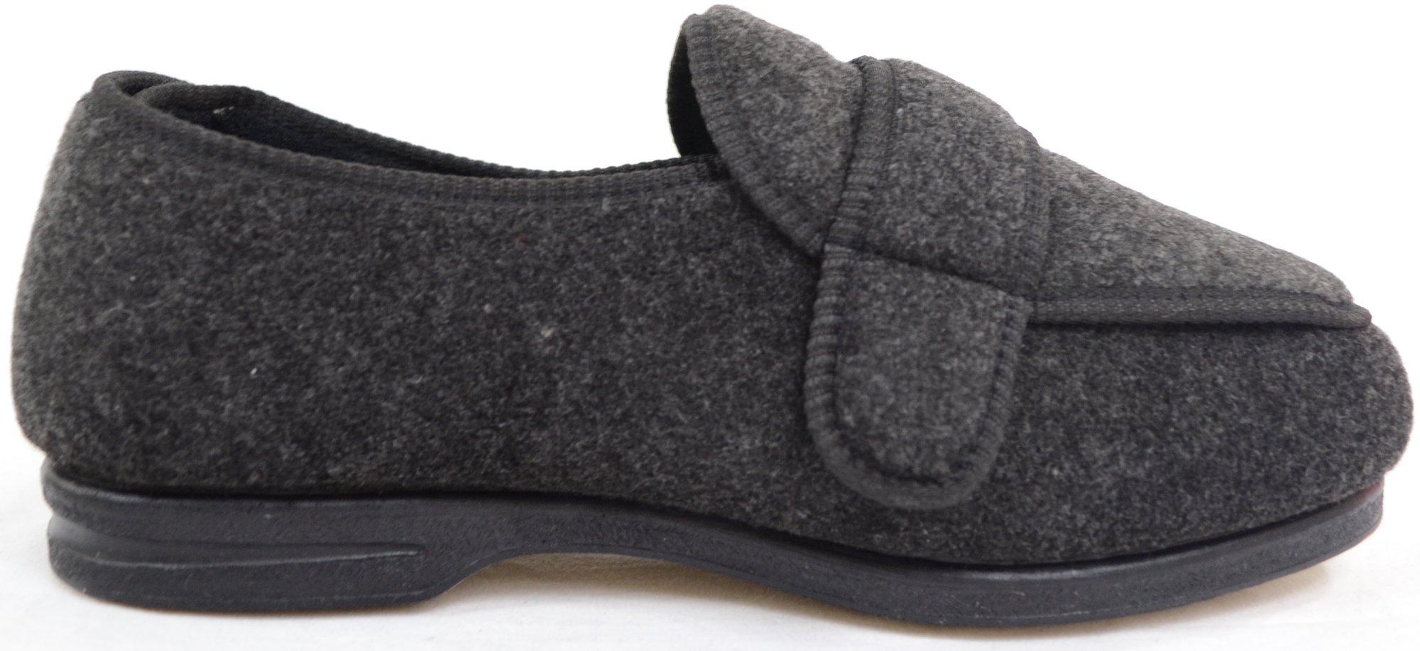 ABSOLUTE FOOTWEAR Mens Orthopaedic/Extra Wide Fit Adjustable Slipper Boot/Slippers - Grey - 10 US by ABSOLUTE FOOTWEAR (Image #4)