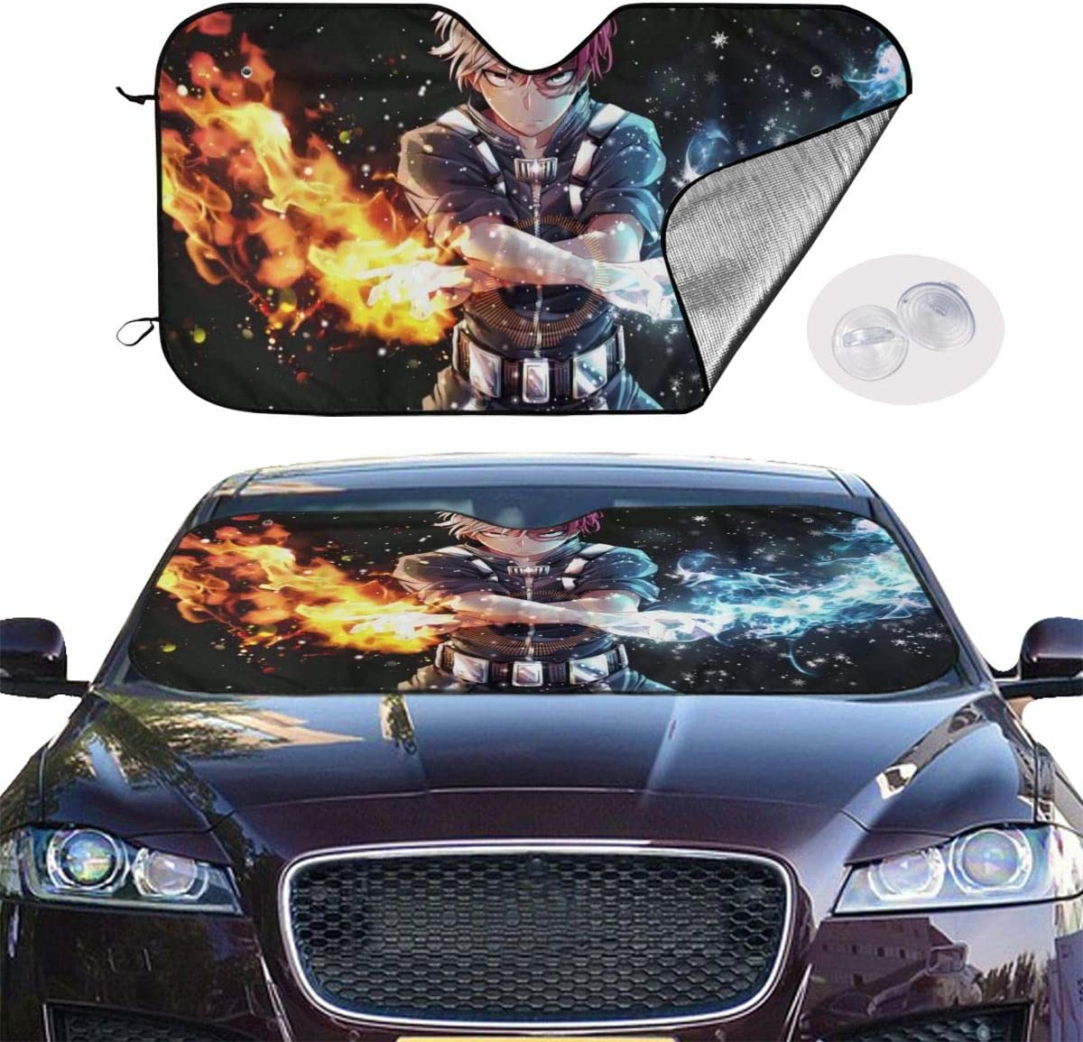 YRAI Anime My Hero Academia Car Sun Shade Windshield Sunshade Universal for Cars SUV Truck Protects Interior Cool S Blocks UV Radiation