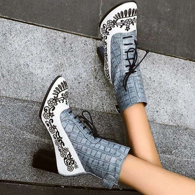 ZARLLE_ Hombre Zapatillas Mujeres Moda Botines Bordados