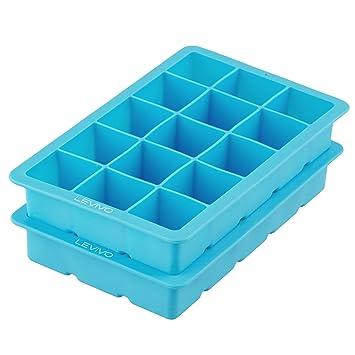 Levivo Silikon Eiswürfelform, Silikonform für 15 Eiswürfel á 3 x 3 x 3 cm, 2er Set Silikonformen, geeignet zum Einfrieren ode