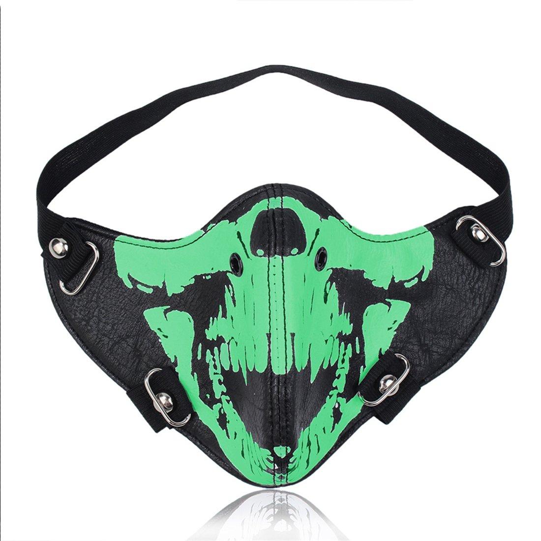 HuiZhi Leather Dust Proof Skull Mask - Punk Half-face Motorcycle Bike Mask Knight Wind Mask Cosplay Mask (Noctilucous)