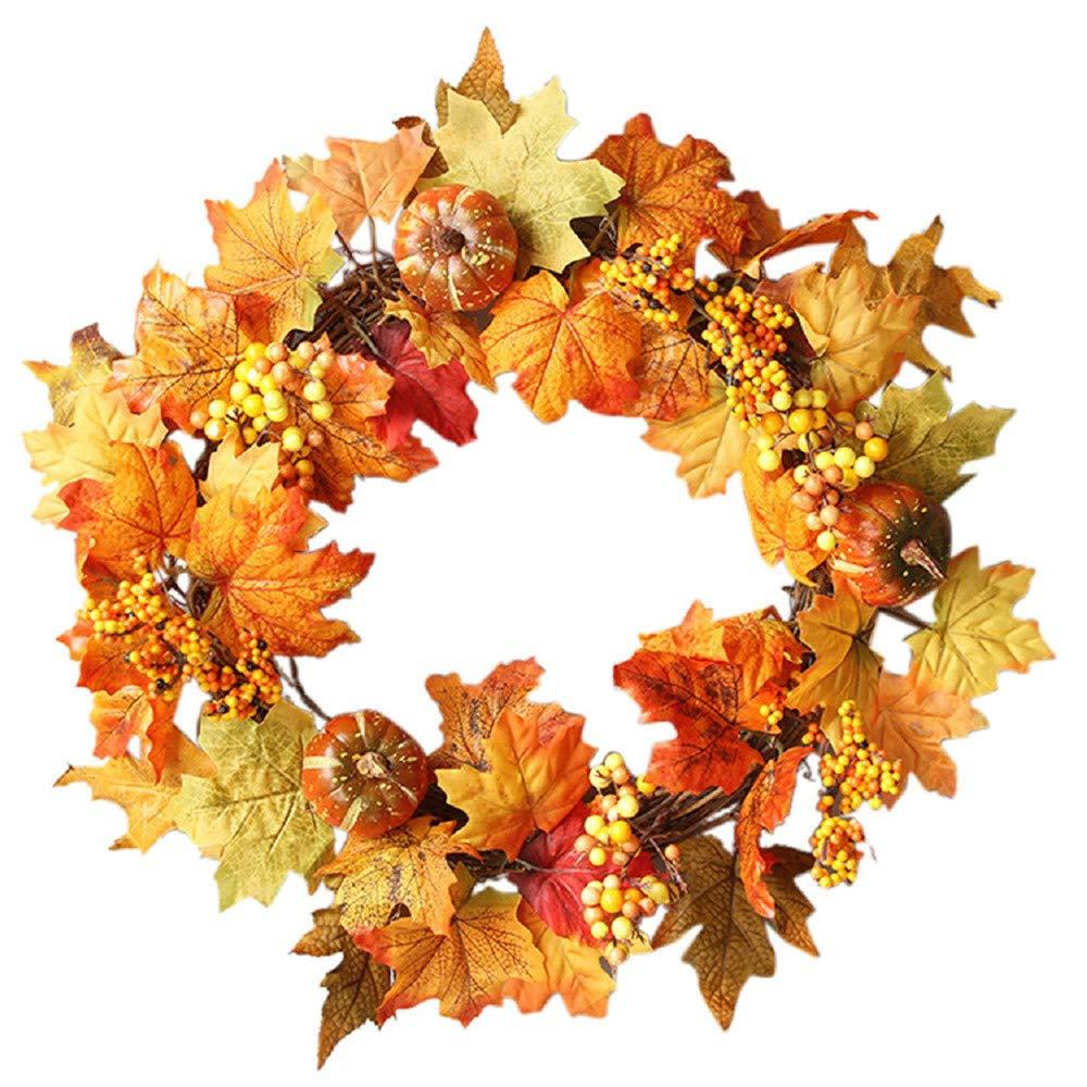 Large Size Door Wreath, Elevin(TM) 50CM Halloween Wheat Fall Door Wreath Door Wall Ornament with Bow-Knot (B)