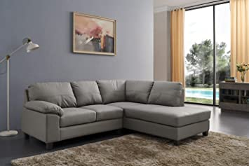 SC Furniture Ltd Grey High Grade Genuine Leather Corner Sofa BOSTON (Right  Hand Facing)