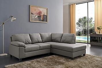 Awe Inspiring Sc Furniture Ltd Grey High Grade Genuine Leather Corner Sofa Boston Right Hand Facing Interior Design Ideas Gentotthenellocom