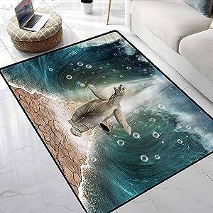 Carpet Animal,Turtle Dives in Ocean Modern Area Rug for Baby Nursery Decor 6 x 9 Feet