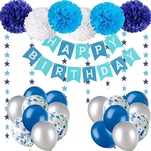 Lhasam Decoraciones de Cumpleaños banner Azul Feliz decoraciones Con paquete de 10 Globos confeti globos de látex del papel de tejido pompones ...