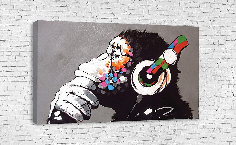 DJ SKULL BANKSY Canvas Wall Art Framed Print Various Sizes