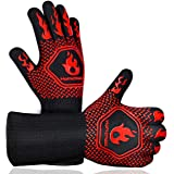 Homemaxs BBQ Gloves,Oven Gloves1472℉ Extreme Heat Resistant, Food Grade Kitchen Grill Gloves, Silicone Non-Slip Cooking Glove
