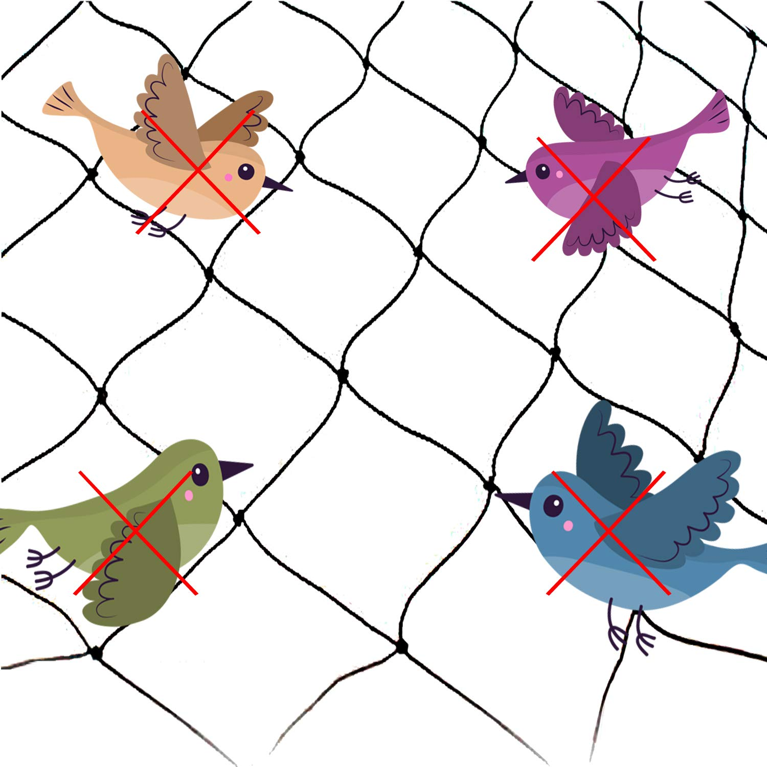 25' x 50' Net Netting for Bird Poultry Aviary Game Pens Economical Bird Netting-Protect Blueberry,Plants and Vegetables from Ows New 2.4'' Square Mesh Size