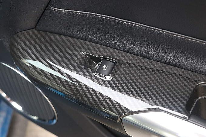 EBTOOLS T/ür Armlehnenverkleidung passend f/ür Mustang 2014-2018 Paar T/ür Armlehnen Dekor Verkleidungsblenden aus Carbonfaser