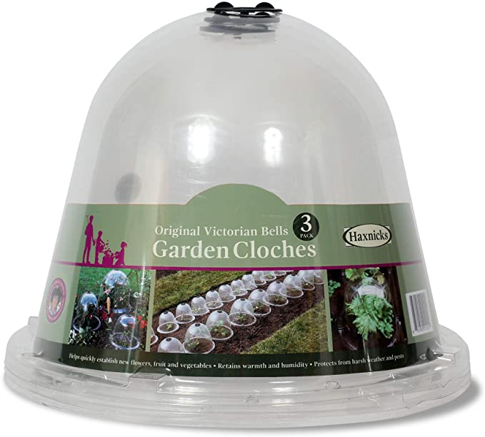 Plastic Mini Greenhouse for Frost Cold Plant Protect Reusable Garden Freeze Protector Cover 6 Packs 10 Inches Garden Cloche Dome Plant Bell Protector Cover with Plant Labels and Ground Securing Pegs