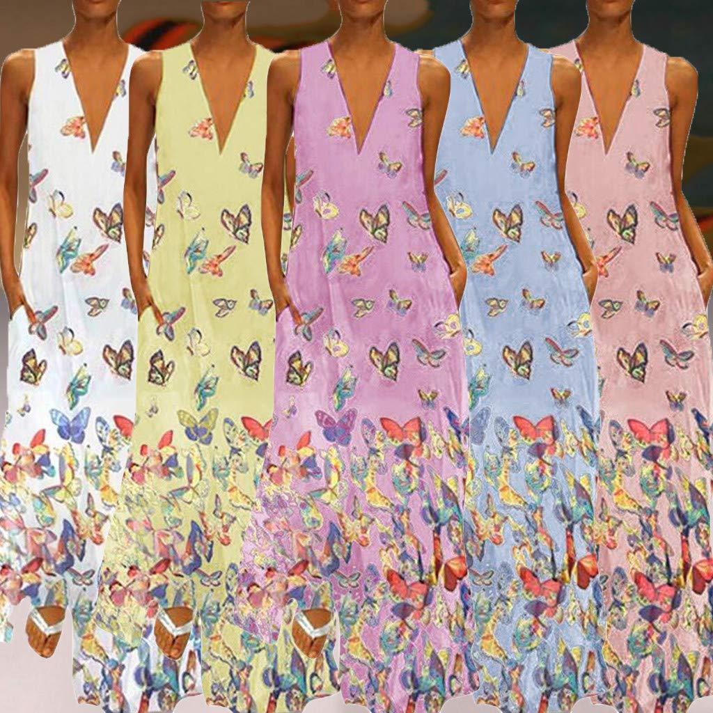 Shusuen Woman Sleeveless Loose Plain Maxi Dresses Casual Long Dresses with Pockets Sexy V Neck Tunics Smock Blue by Shusuen_Clothes (Image #2)