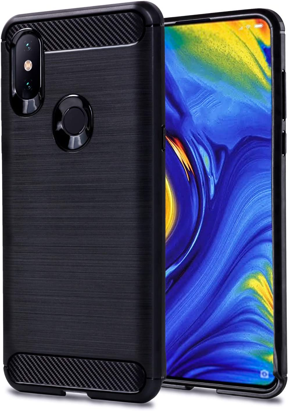 ImoreTEC Funda Xiaomi Mi Mix 3 de Silicona Texturizada en Fibra de Carbono. Carcasa Protectora para Mi Mix3 Antigolpes y Antirayaduras (Negro)