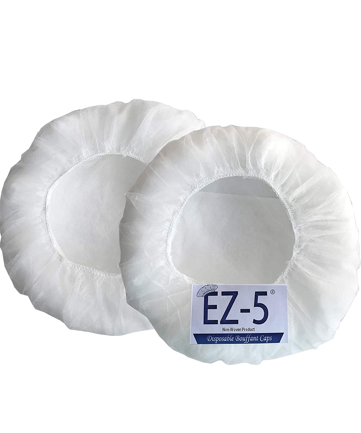 100 pcs- EZ-5 Disposable Bouffant Caps, Spun-Bounded Poly, Hair Head Cover Net, Non-Woven, Medical, Labs, Nurse, Tattoo, Food Service, Hospital-(21 INCH, White)