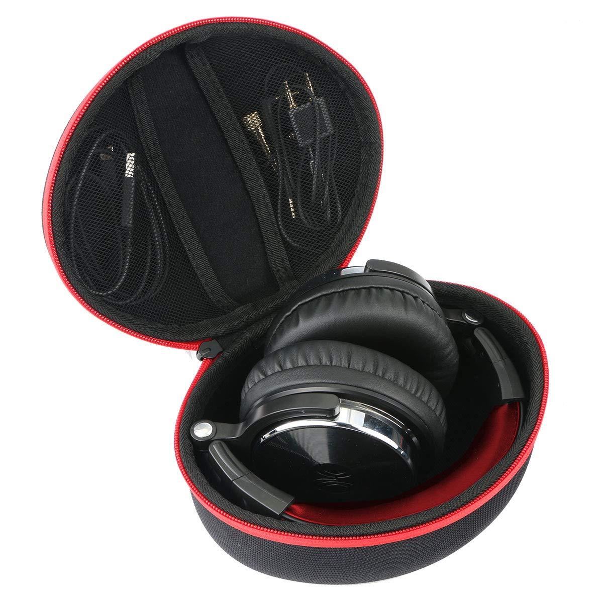 Khanka Headphone Case for OneOdio Over Ear Headphones Closed Back Studio DJ Headphones bluetooth headset. (case only,Red zipper)