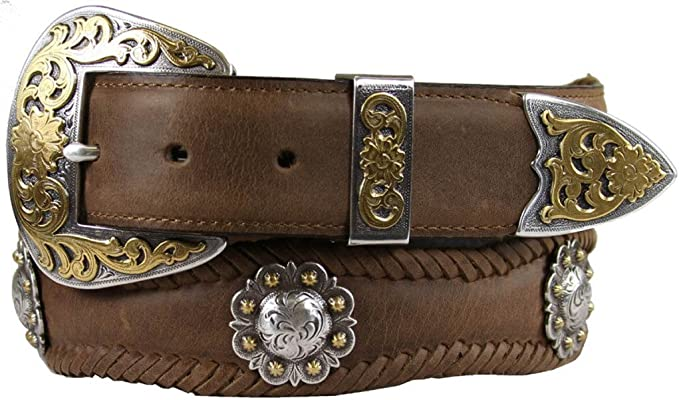 Western Silver Cross Berry Conchos Leather Scalloped Belt 1 1//2 Wide
