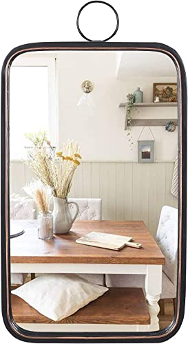 Black Rectangle Mirrors for Wall, Brushed Metal Frame Accent Wall Mirror for Bedroom Bathroom Living Room Entry 12 x23