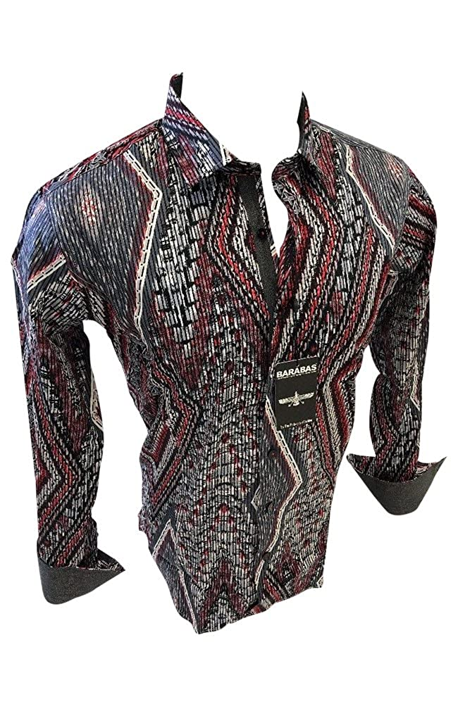 Mens BARABAS Classic Fit Shirt White with Abstract Stripes Button Front