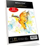 "MISULOVE 6.1X8.7"" Watercolor Paper Pad, Cold-Pressed, Acid-Free, Ideal for Watercolor Painting and Wet Media, Textured Paper Great and Sketchbook, Art Paper for Kid, 20 White Sheets (140lb/300gsm)"