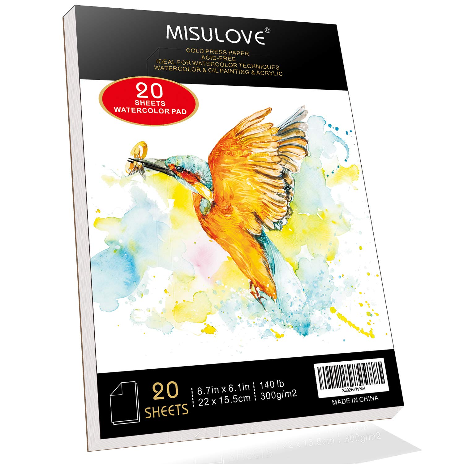 """MISULOVE 6.1X8.7"""" Watercolor Paper Pad, Cold-Pressed, Acid-Free, Ideal for Watercolor Painting and Wet Media, Textured Paper Great and Sketchbook, Art Paper for Kid, 20 White Sheets (140lb/300gsm)"""