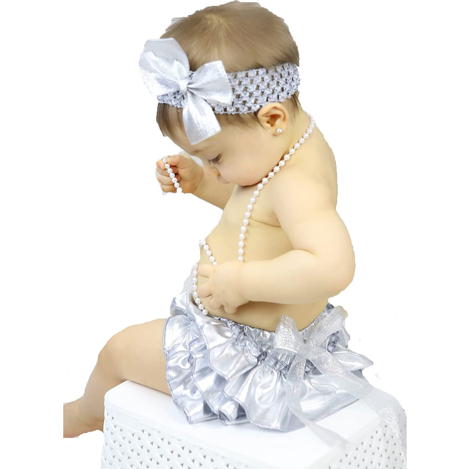 Baby Dress Bling Silver Polyester Bloomer Headband Set 6-24m NF042