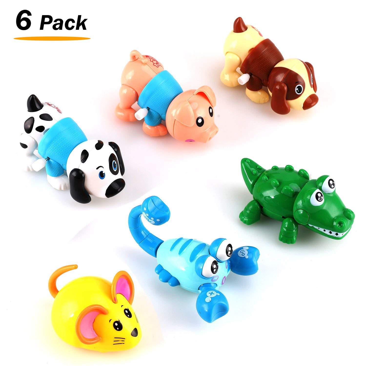 Liberty Imports Set of 6 Wind Up Animals for Kids (Includes Pig, Mouse, Dog, Scorpion, Crocodile, Puppy)