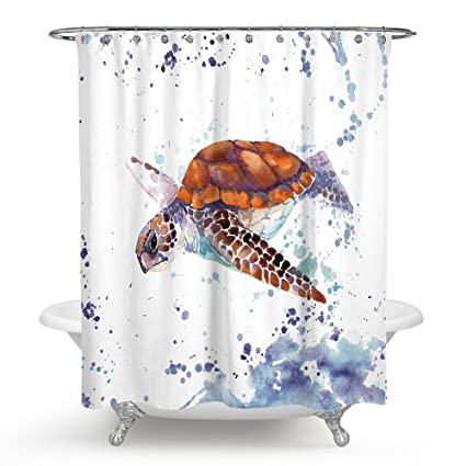 Chengsan Sea Animal Lover Watercolor Brick Turtle Shower Curtain 69X70 Inches Mildew Resistant Polyester Fabric Bathroom