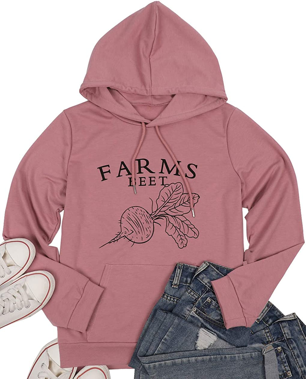Farms Beet Print Hooded Sweatshirt Women the Office Hoodie Drawstring Sweater Casual Long Sleeve Pullover Tops