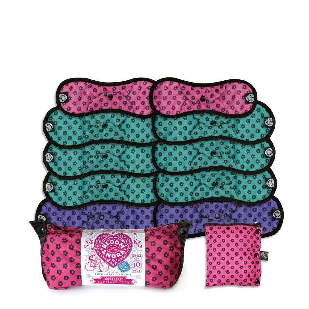Bloomers Bamboo Fleece Full Kit Pink Bloom and Nora Reusable Washable Sanitary Pads